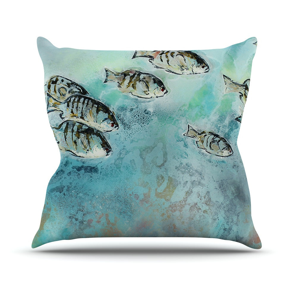 "Josh Serafin ""Surf Perch"" Blue Green Outdoor Throw Pillow - KESS InHouse  - 1"