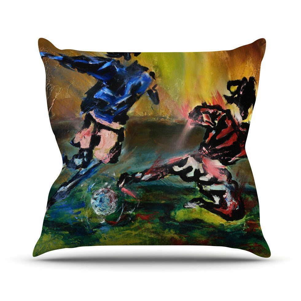 "Josh Serafin ""Slidetackle"" Soccer Outdoor Throw Pillow - KESS InHouse  - 1"