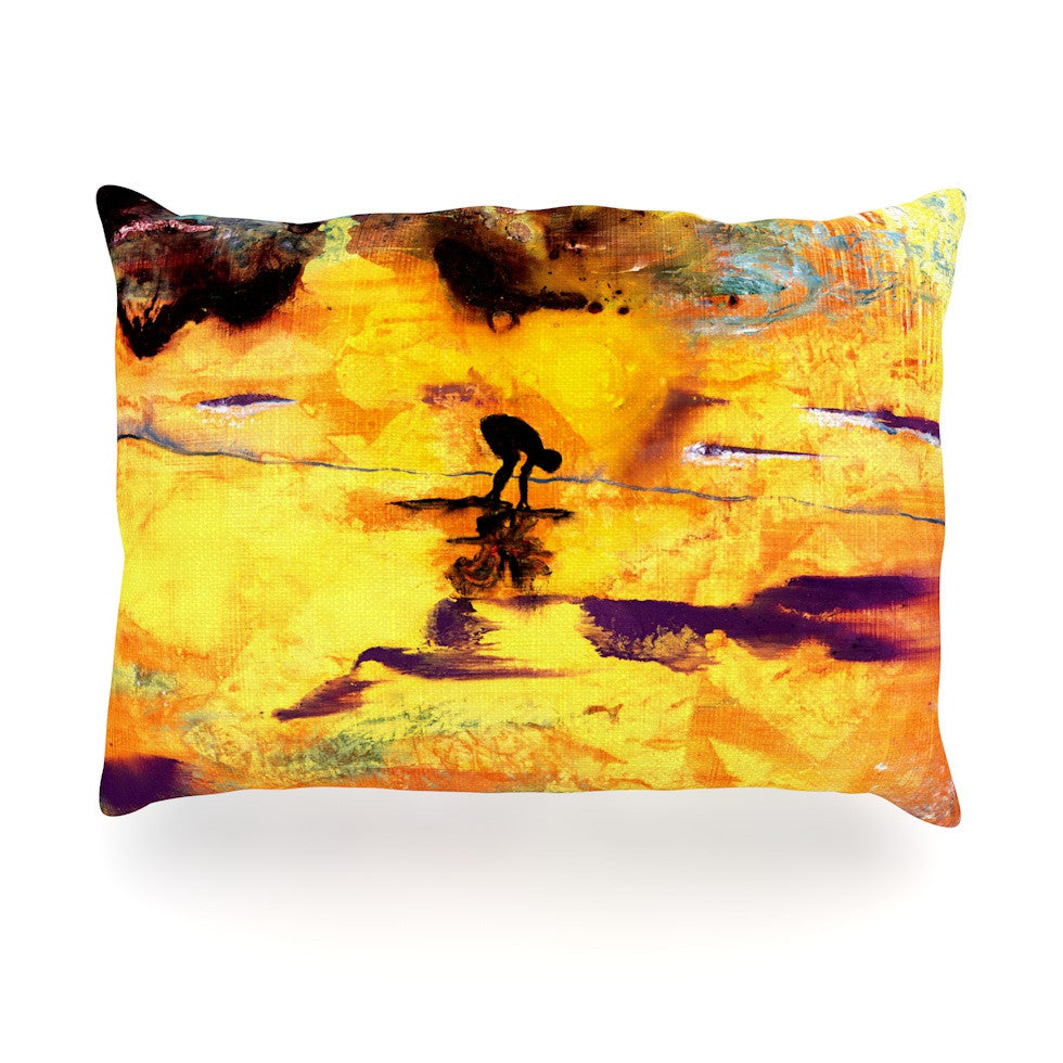 "Josh Serafin ""Pool of Life"" Yellow Abstract Oblong Pillow - KESS InHouse"