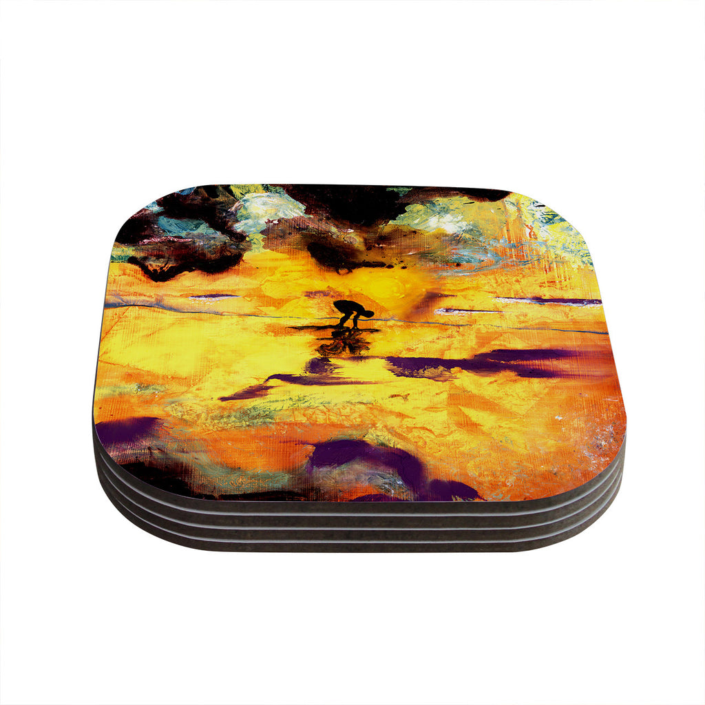"Josh Serafin ""Pool of Life"" Yellow Abstract Coasters (Set of 4)"