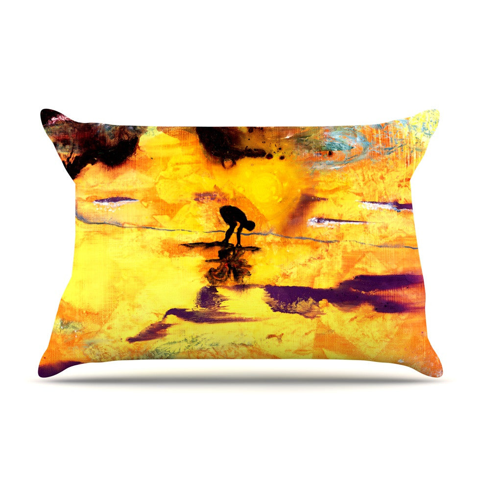 "Josh Serafin ""Pool of Life"" Yellow Abstract Pillow Sham - KESS InHouse"