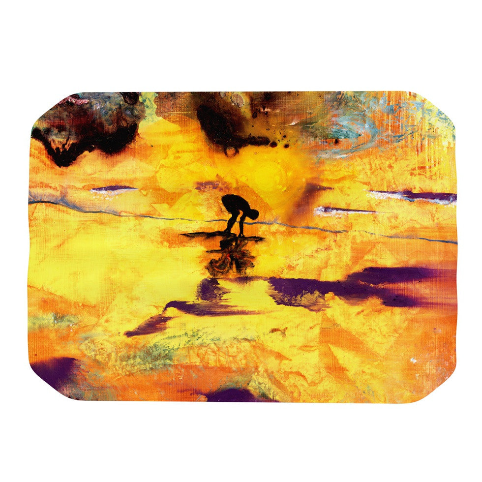 "Josh Serafin ""Pool of Life"" Yellow Abstract Place Mat - KESS InHouse"
