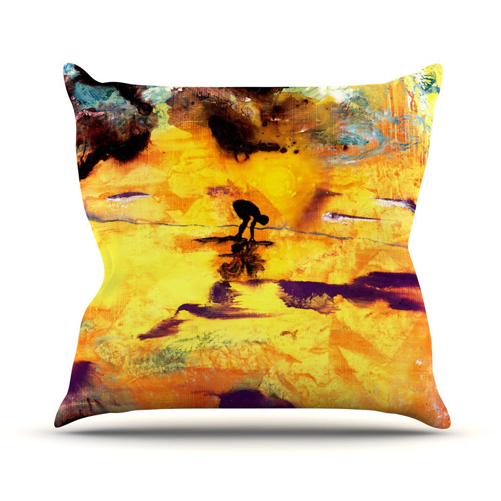 "Josh Serafin ""Pool of Life"" Yellow Abstract Outdoor Throw Pillow - KESS InHouse  - 1"
