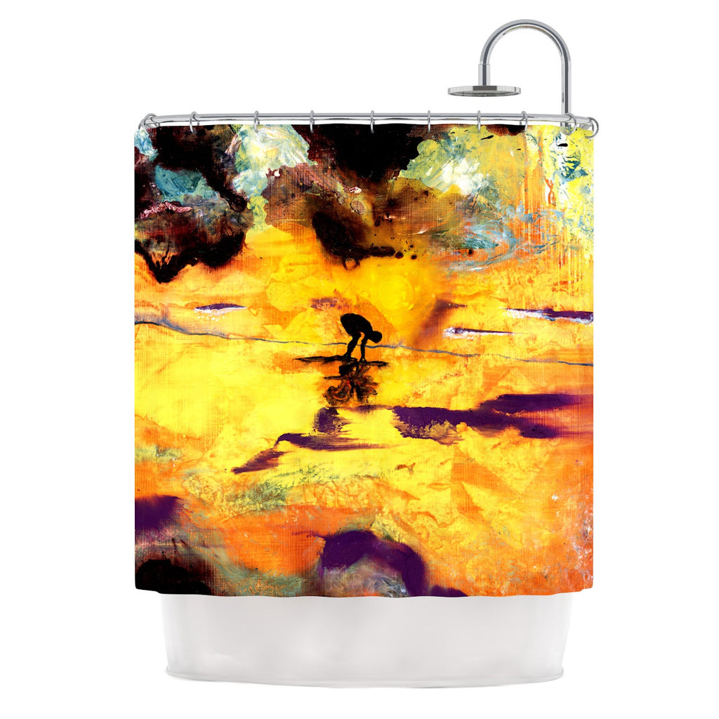 "Josh Serafin ""Pool of Life"" Yellow Abstract Shower Curtain - KESS InHouse"