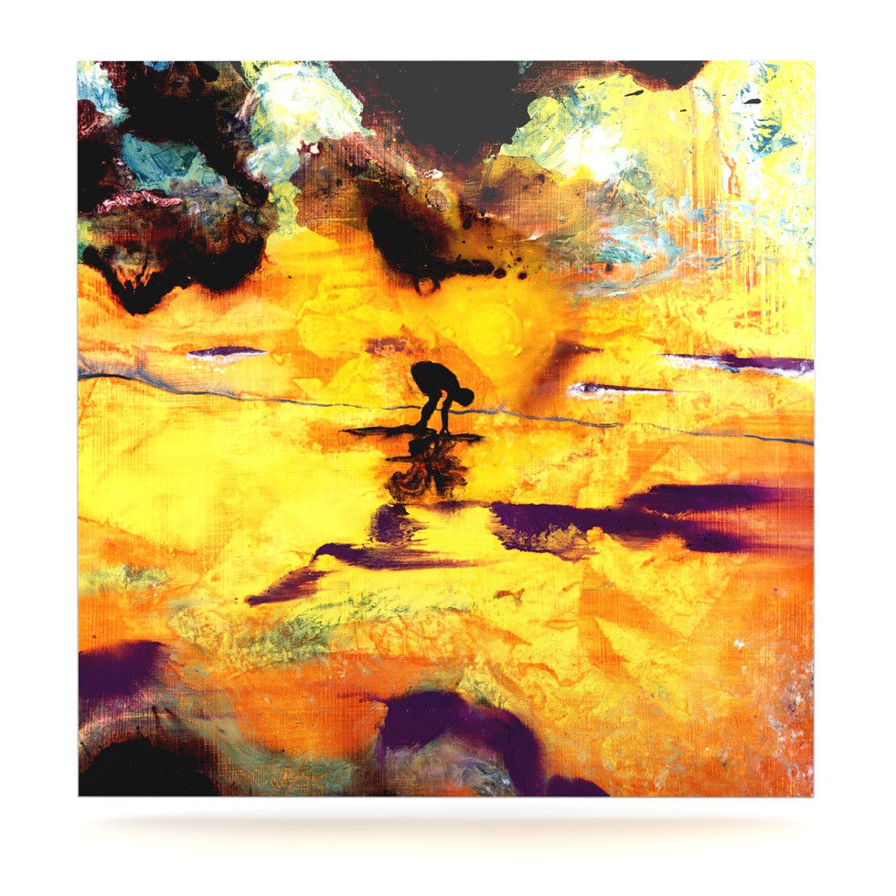 "Josh Serafin ""Pool of Life"" Yellow Abstract Luxe Square Panel - KESS InHouse  - 1"