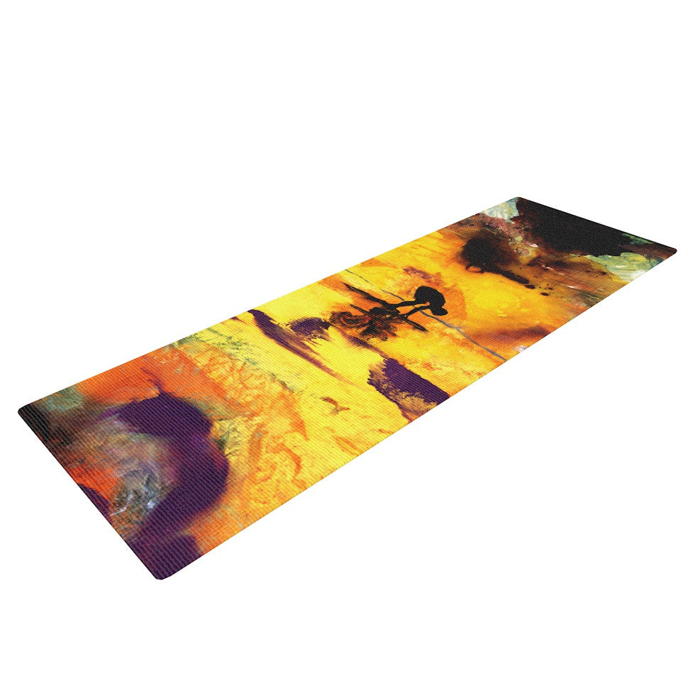 "Josh Serafin ""Pool of Life"" Yellow Abstract Yoga Mat - KESS InHouse  - 1"