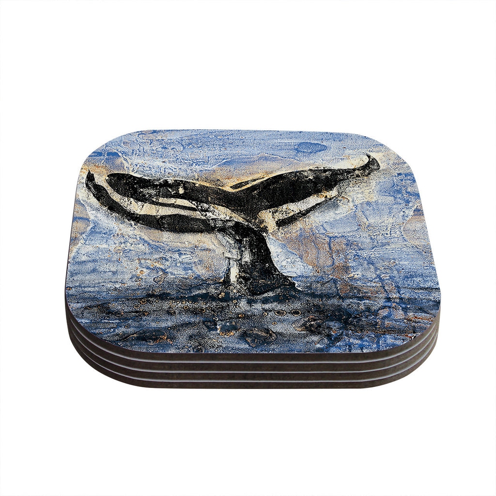 "Josh Serafin ""Whale Tail"" Coastal Painting Coasters (Set of 4)"