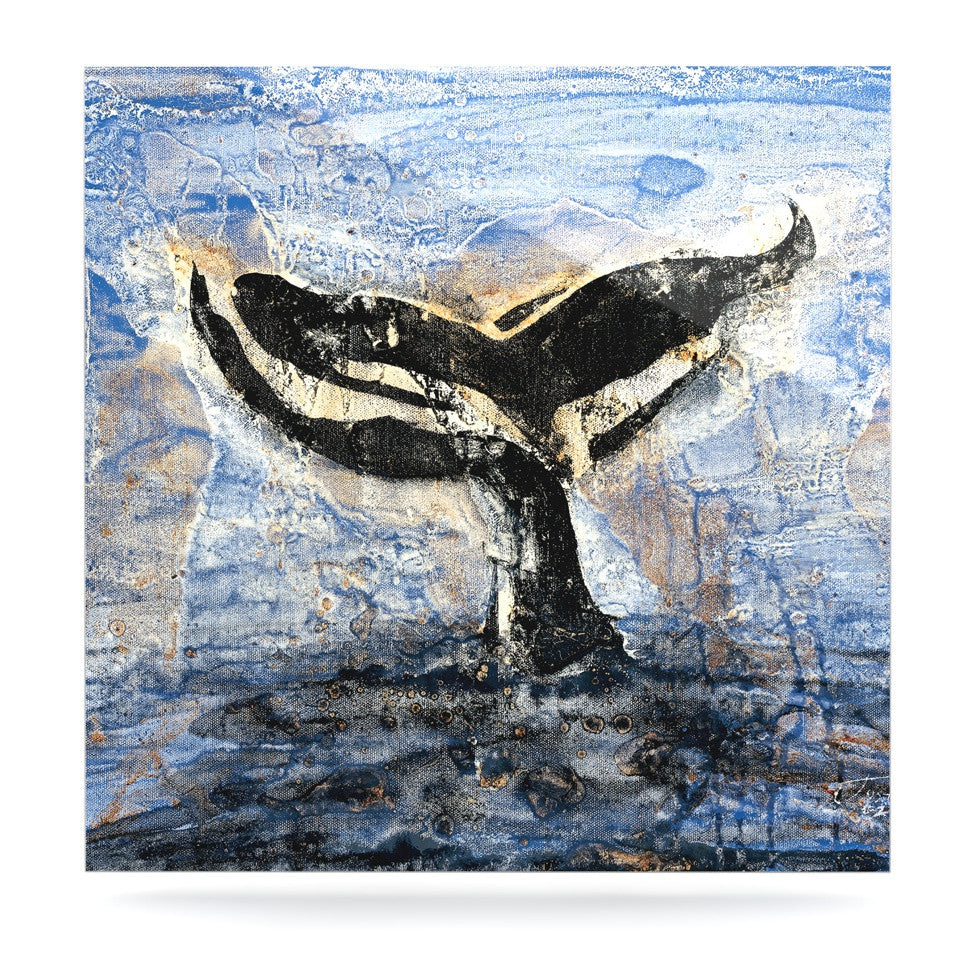 "Josh Serafin ""Whale Tail"" Coastal Painting Luxe Square Panel - KESS InHouse  - 1"