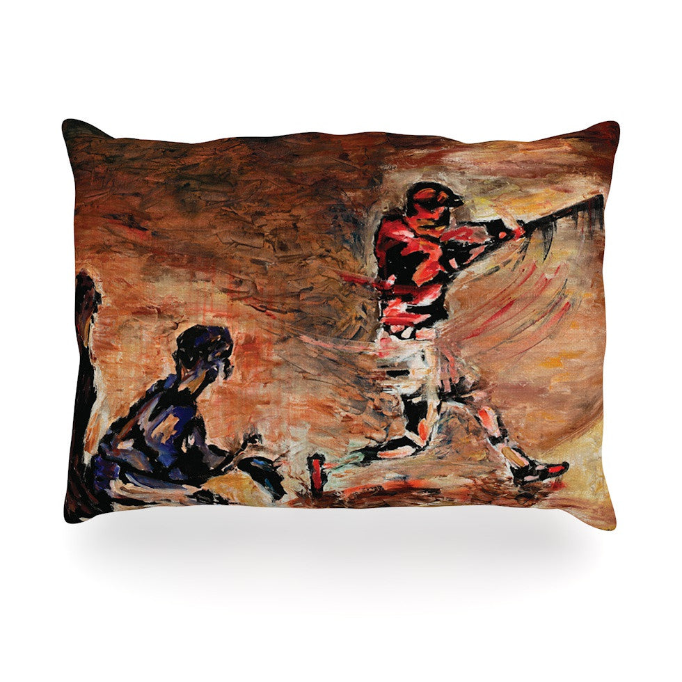 "Josh Serafin ""It's Gone!"" Brown Red Oblong Pillow - KESS InHouse"
