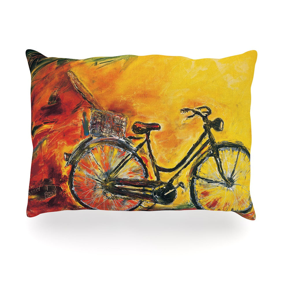"Josh Serafin ""To Go"" Yellow Bicycle Oblong Pillow - KESS InHouse"