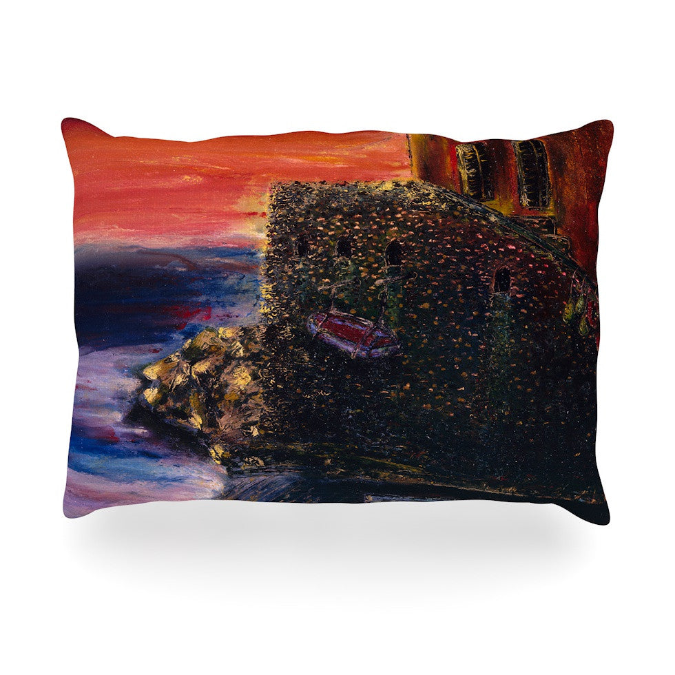 "Josh Serafin ""Seaside Village"" Brown Red Oblong Pillow - KESS InHouse"