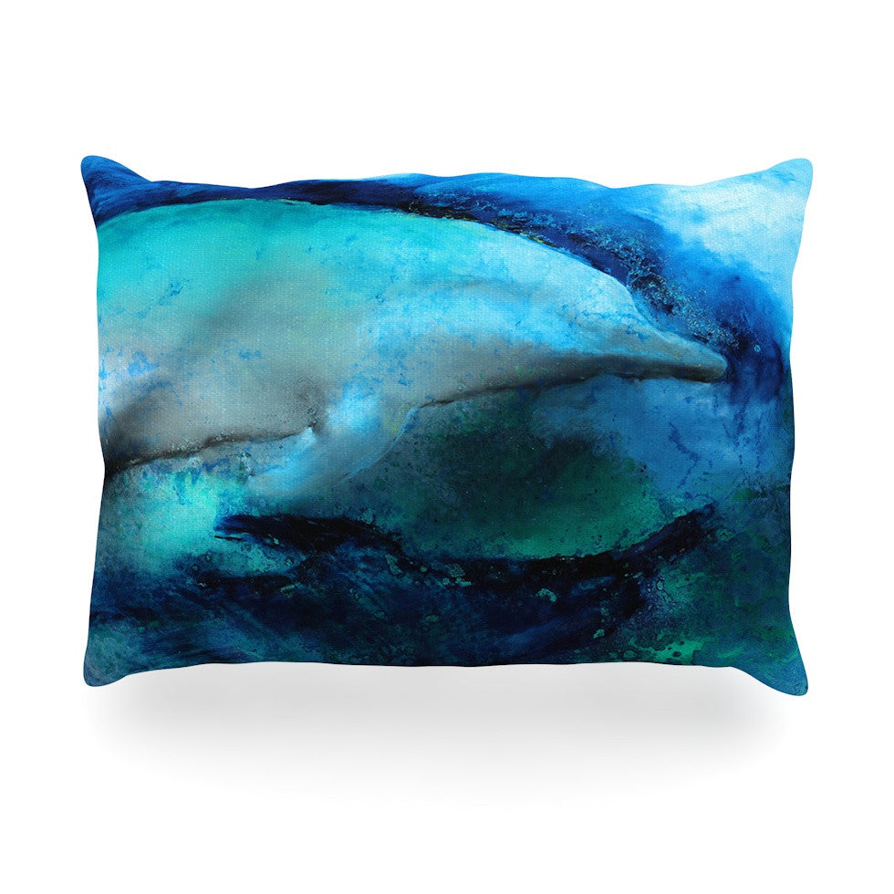 "Josh Serafin ""Dolphin"" Blue Teal Oblong Pillow - KESS InHouse"