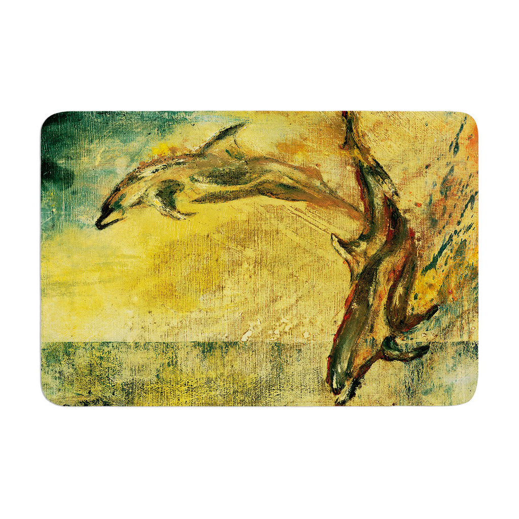 "Josh Serafin ""No Reason to Hide"" Yellow Brown Memory Foam Bath Mat - KESS InHouse"