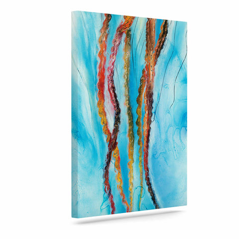 "Josh Serafin ""Jelly"" Blue White Coastal Painting Mixed Media Art Canvas"