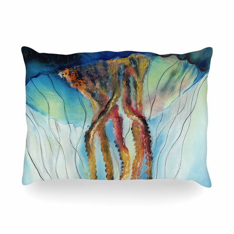 "Josh Serafin ""Jelly"" Blue White Coastal Painting Mixed Media Oblong Pillow"
