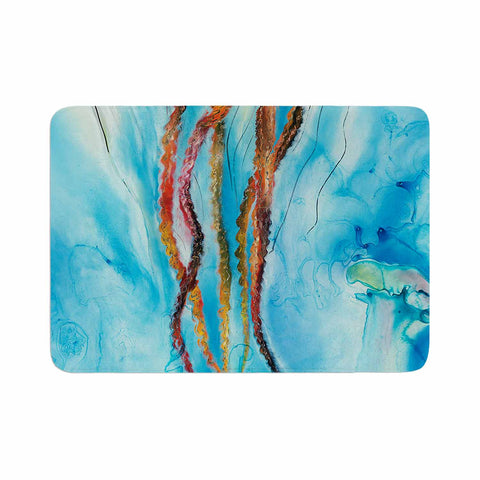 "Josh Serafin ""Jelly"" Blue White Coastal Painting Mixed Media Memory Foam Bath Mat"