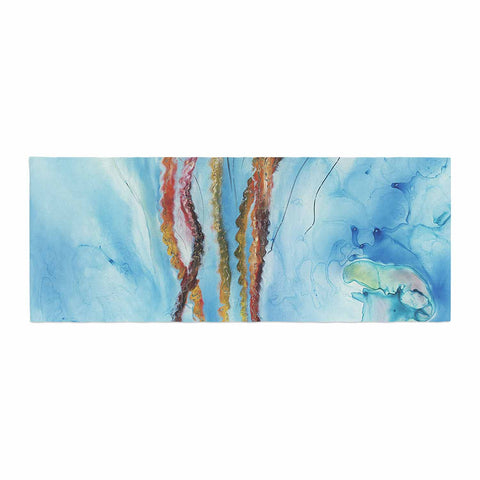 "Josh Serafin ""Jelly"" Blue White Coastal Painting Mixed Media Bed Runner"