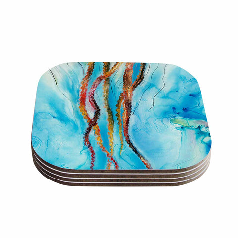 "Josh Serafin ""Jelly"" Blue White Coastal Painting Mixed Media Coasters (Set of 4)"