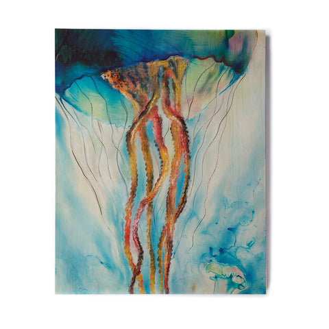 "Josh Serafin ""Jelly"" Blue White Coastal Painting Mixed Media Birchwood Wall Art"