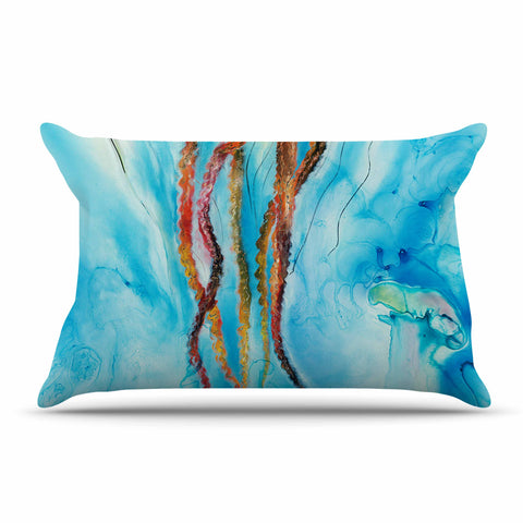 "Josh Serafin ""Jelly"" Blue White Coastal Painting Mixed Media Pillow Sham"