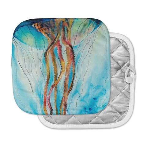 "Josh Serafin ""Jelly"" Blue White Coastal Painting Mixed Media Pot Holder"