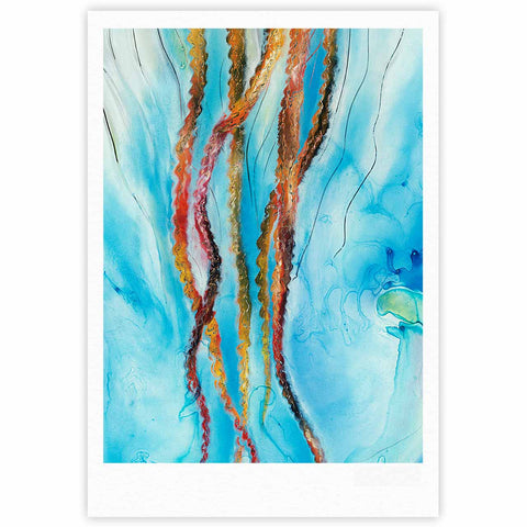 "Josh Serafin ""Jelly"" Blue White Coastal Painting Mixed Media Fine Art Gallery Print"