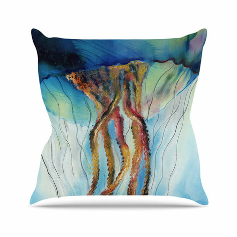 "Josh Serafin ""Jelly"" Blue White Coastal Painting Mixed Media Outdoor Throw Pillow"