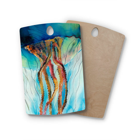 "Josh Serafin ""Jelly"" Blue White Coastal Painting Mixed Media Rectangle Wooden Cutting Board"