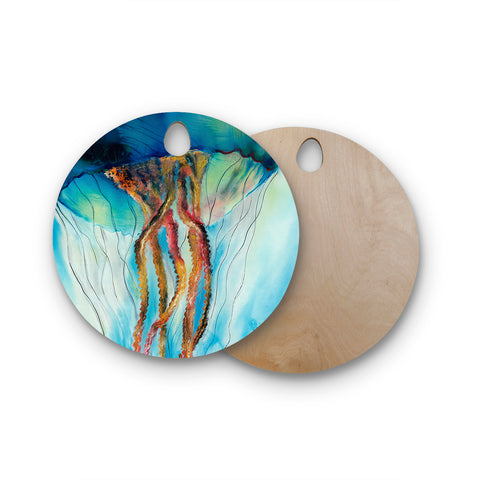 "Josh Serafin ""Jelly"" Blue White Coastal Painting Mixed Media Round Wooden Cutting Board"
