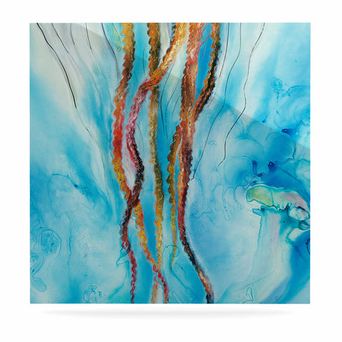 "Josh Serafin ""Jelly"" Blue White Coastal Painting Mixed Media Luxe Square Panel"