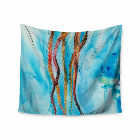 "Josh Serafin ""Jelly"" Blue White Coastal Painting Mixed Media Wall Tapestry"