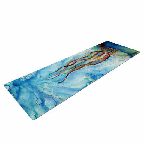 "Josh Serafin ""Jelly"" Blue White Coastal Painting Mixed Media Yoga Mat"