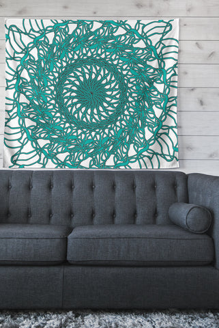 "Patternmuse ""Mandala Spin Jade"" Green Wall Tapestry - Outlet Item"