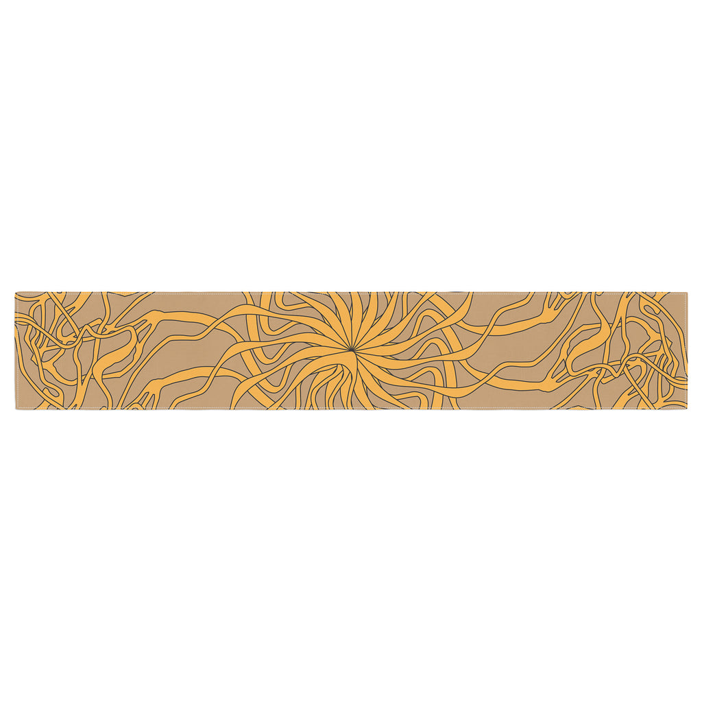 "Patternmuse ""Mandala Spin Latte"" Brown Yellow Table Runner - Outlet Item"