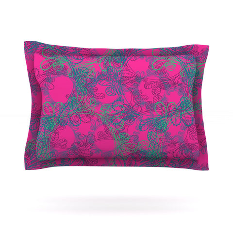 "Patternmuse ""Jaipur Hot Pink"" Pink Teal Pillow Sham - Outlet Item"
