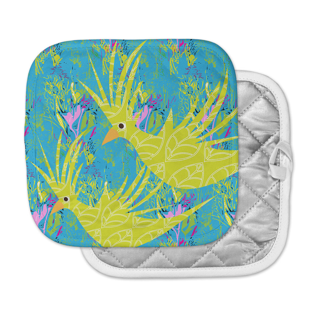 "Pattern Muse ""Tropical Fly-by"" Teal Green Pot Holder"