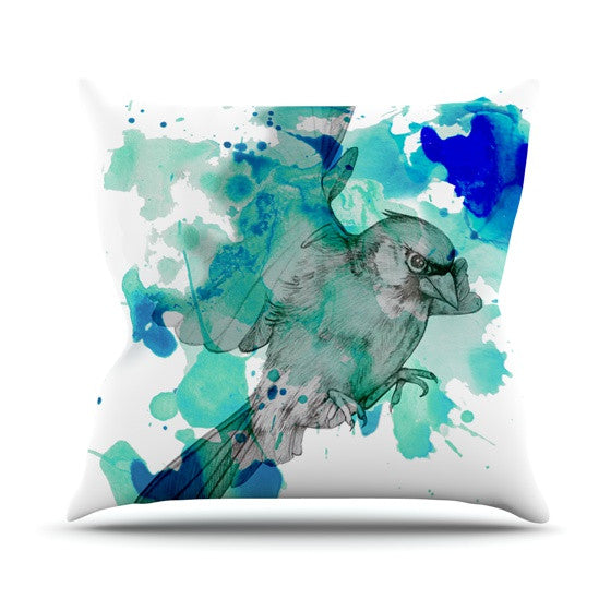 "Kira Crees ""A Cardinal In Blue"" Outdoor Throw Pillow - KESS InHouse  - 1"
