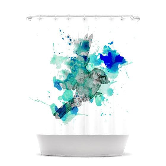 "Kira Crees ""A Cardinal In Blue"" Shower Curtain - KESS InHouse"