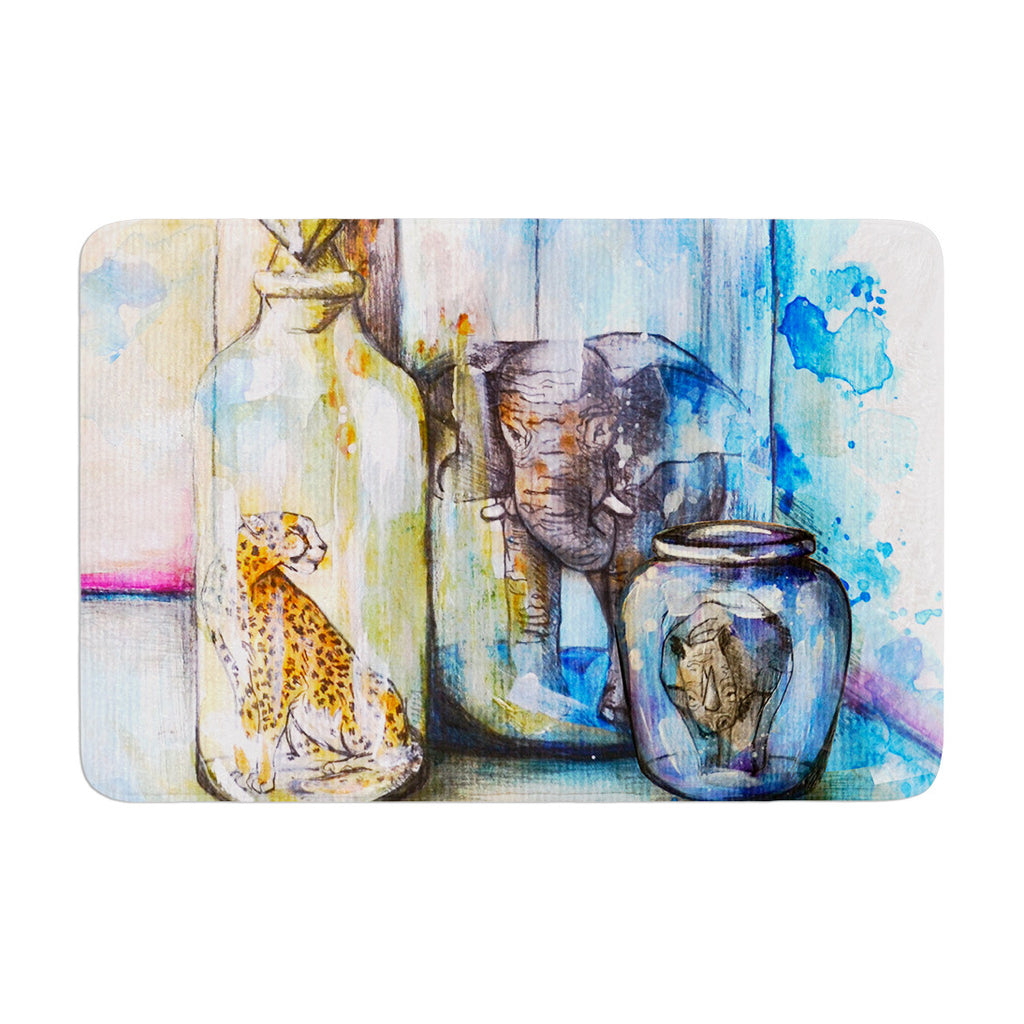 "Kira Crees ""Bottled Animals"" Memory Foam Bath Mat - KESS InHouse"