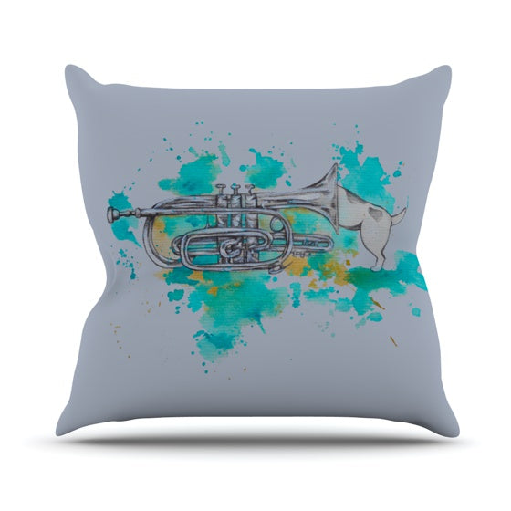 "Kira Crees ""Hunting For Jazz Blue"" Throw Pillow - KESS InHouse  - 1"