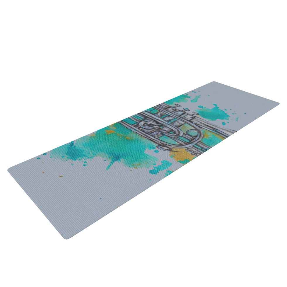 "Kira Crees ""Hunting For Jazz Blue"" Yoga Mat - KESS InHouse  - 1"