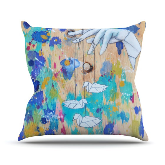 "Kira Crees ""Origami Strings"" Throw Pillow - KESS InHouse  - 1"