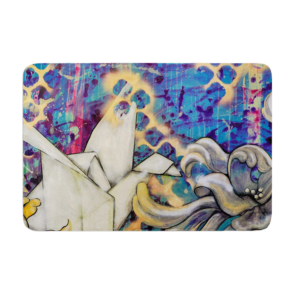 "Kira Crees ""Peonies and Crane"" Blue Green Memory Foam Bath Mat - KESS InHouse"