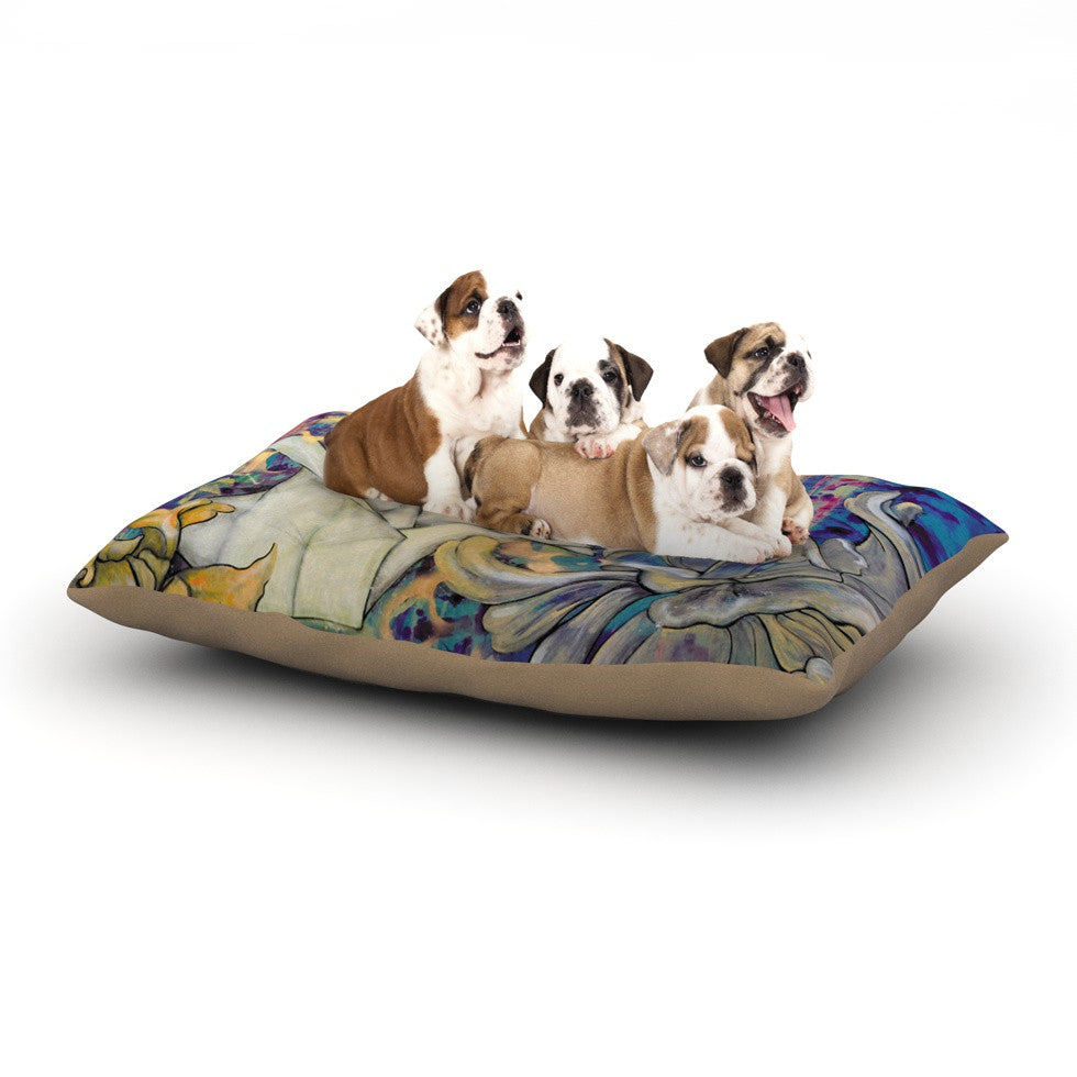 "Kira Crees ""Peonies and Crane"" Blue Green Dog Bed - KESS InHouse  - 1"