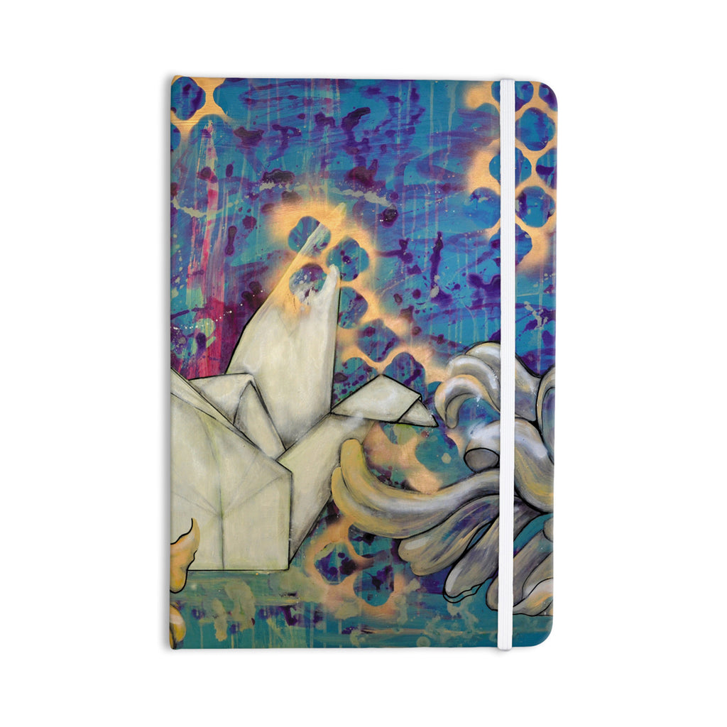 "Kira Crees ""Peonies and Crane"" Blue Green Everything Notebook - KESS InHouse  - 1"