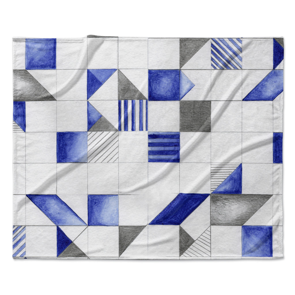 "Kira Crees ""Winter Geometry"" White Blue Fleece Throw Blanket"