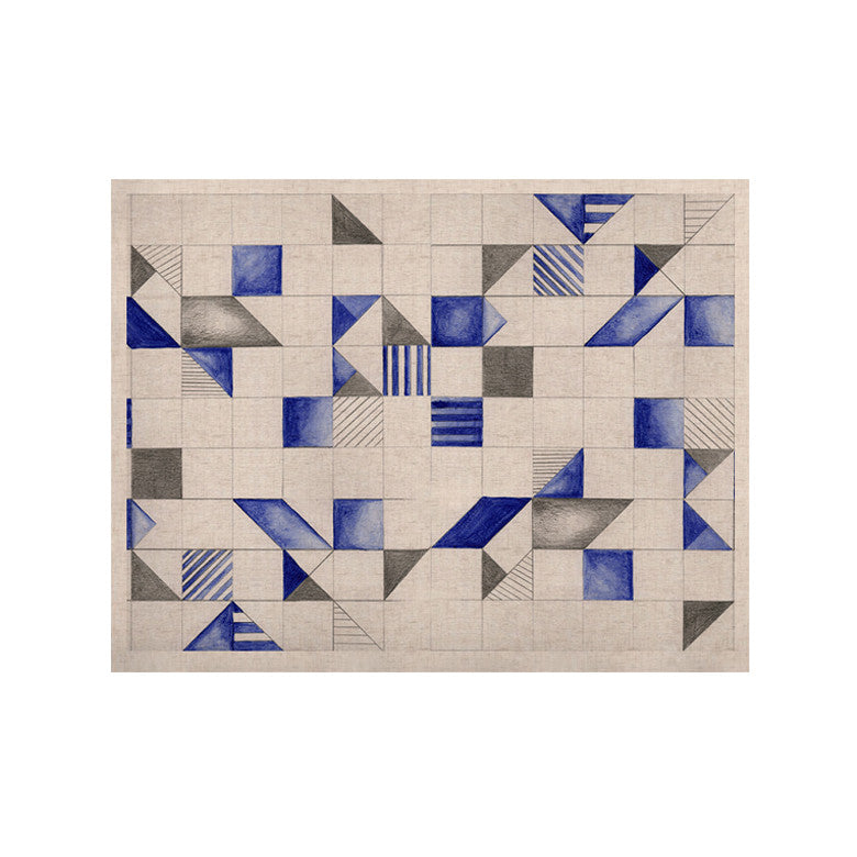 "Kira Crees ""Winter Geometry"" White Blue KESS Naturals Canvas (Frame not Included) - KESS InHouse  - 1"