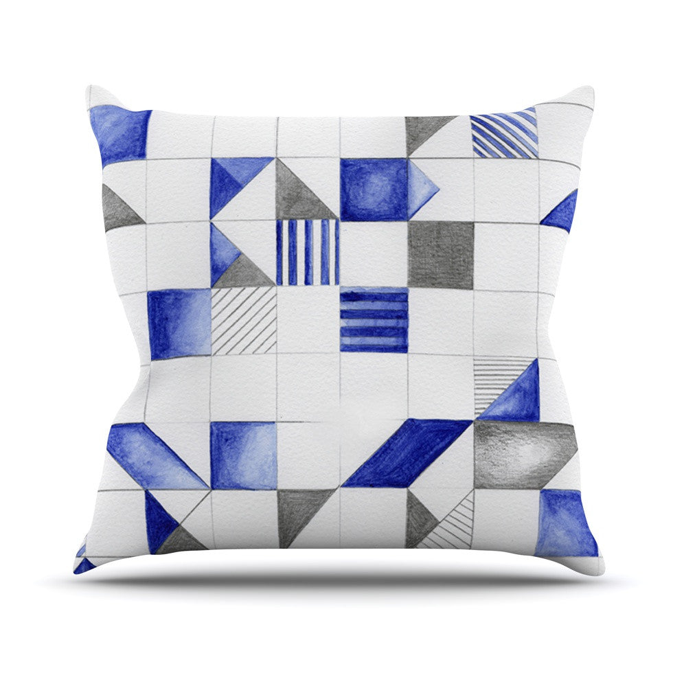 "Kira Crees ""Winter Geometry"" White Blue Outdoor Throw Pillow - KESS InHouse  - 1"