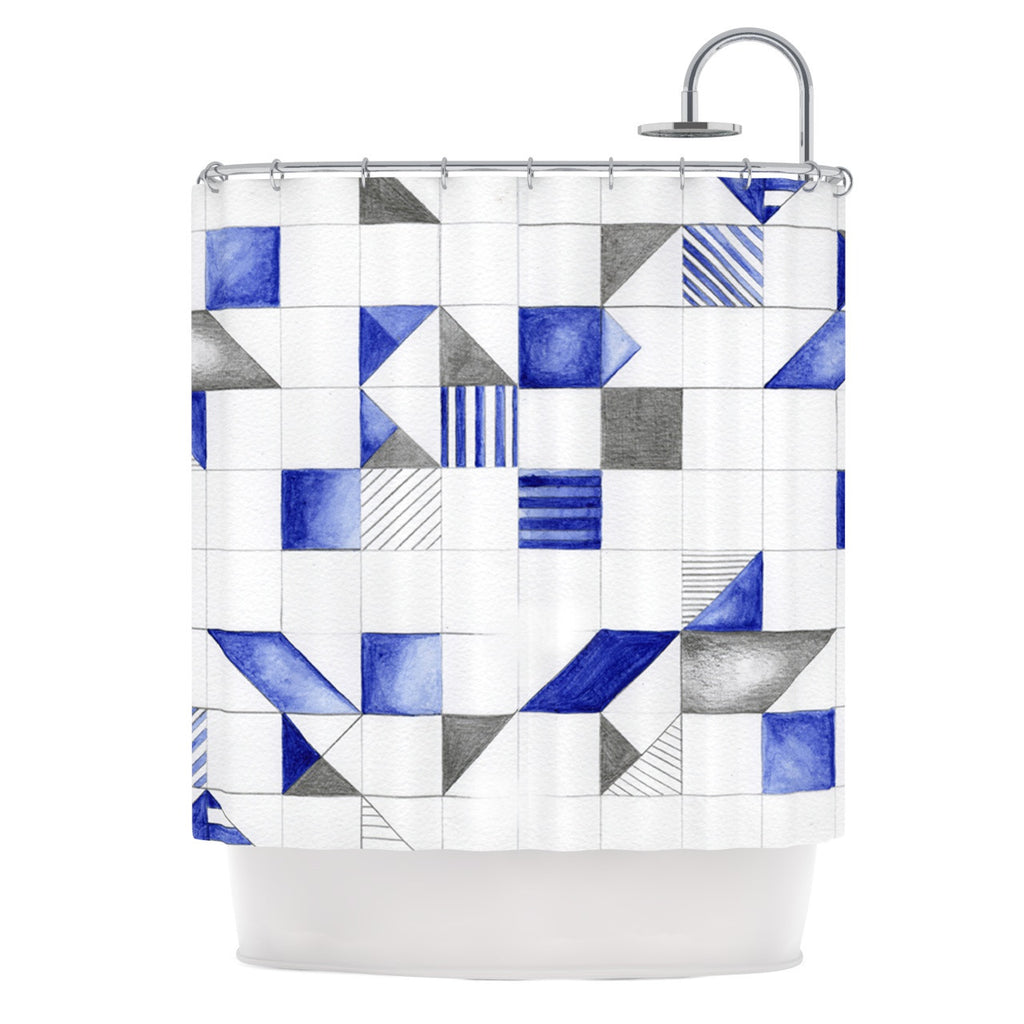 "Kira Crees ""Winter Geometry"" White Blue Shower Curtain - KESS InHouse"