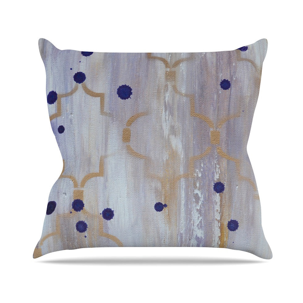 "Kira Crees ""Lush"" Gray Blue Outdoor Throw Pillow - KESS InHouse  - 1"